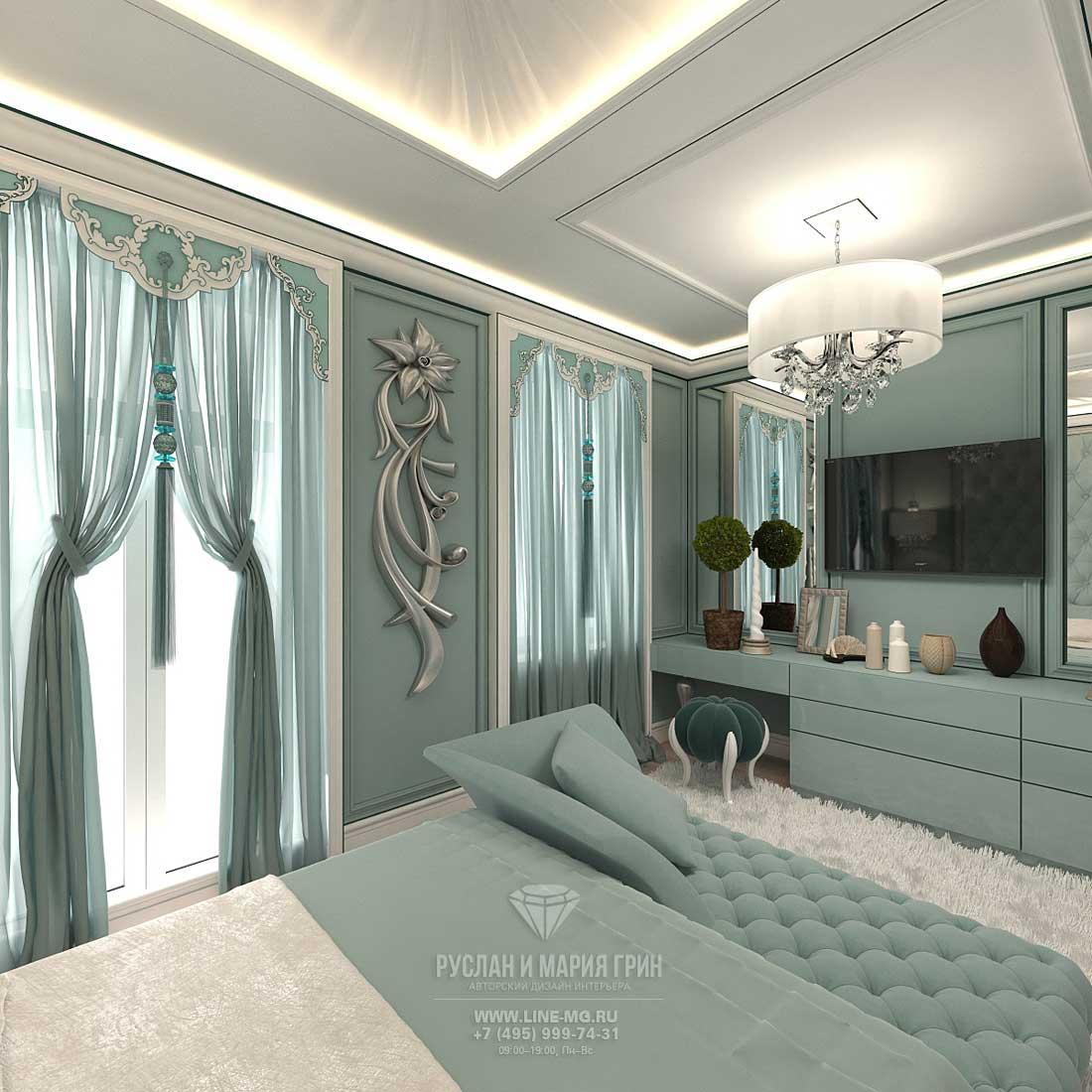Дизайна бирюзовой спальни в таунхаусе