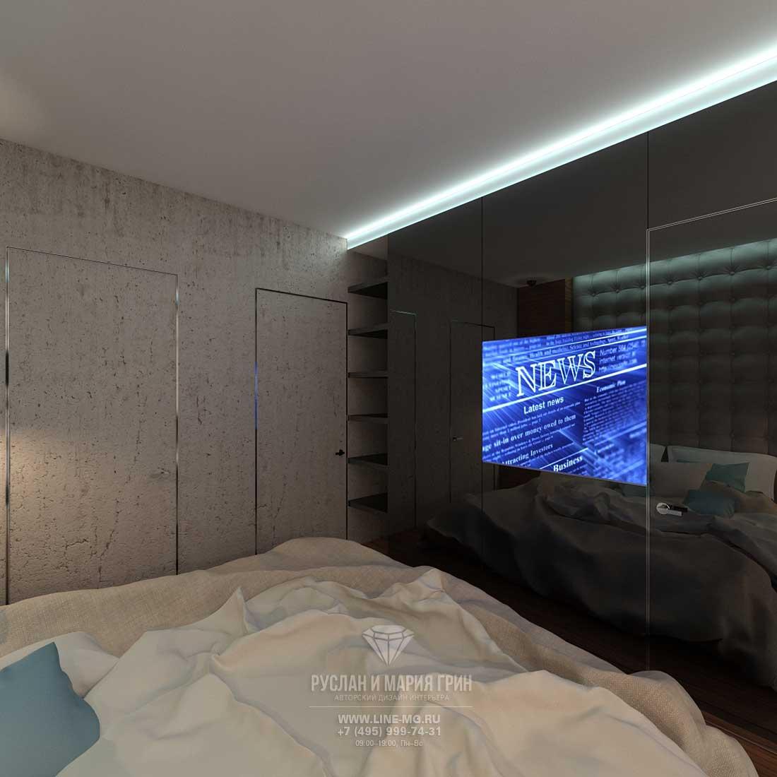 ТВ-зона интерьера спальни
