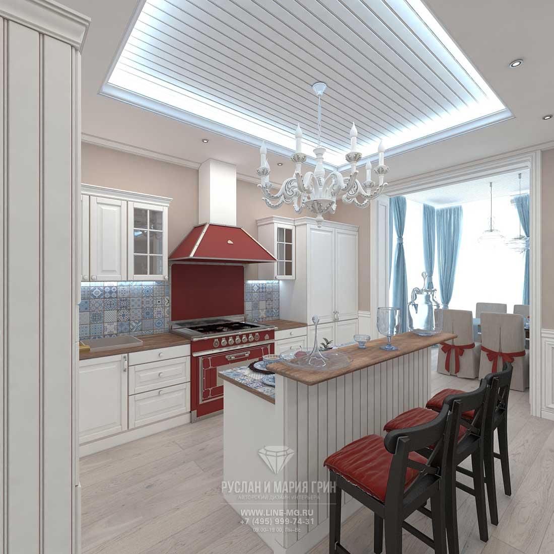 Дизайн большой кухни в доме