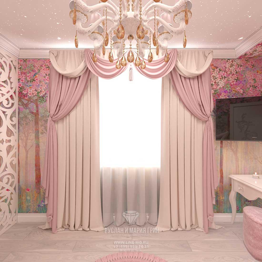 Дизайн красивой детской комнаты для девочки в розовом цвете